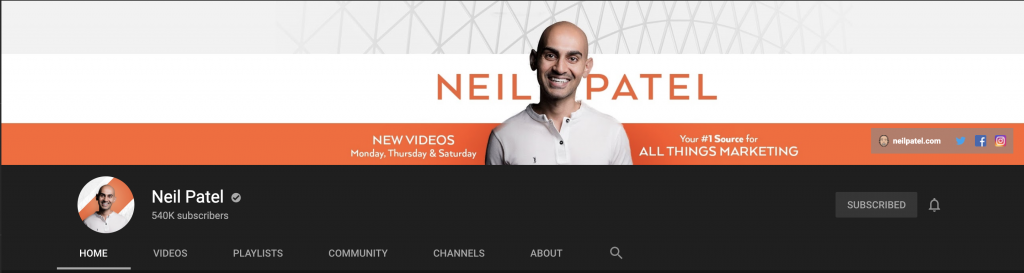 Neil Patel YouTube